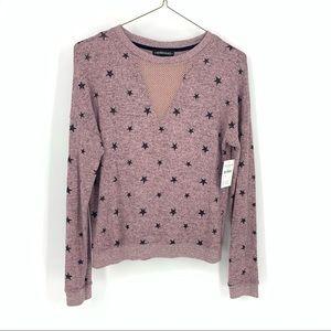 Cozy Star Print Pink Pullover Longsleeve Medium